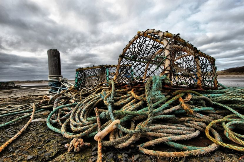 photo montrant un piège à poisson posé sur un tas de cordes usées par l'eau salée, la photo a été prise à marée basse